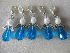 5 GUARDIAN ANGEL BLUE CLIP-ON CHARMS - BAG/PURSE/ZIP CHARMS - FAVOURS