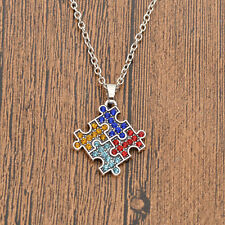 Autism Awareness Puzzle Pendant Necklace Silver Chain Jewelry Autistic Gifts