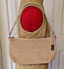 LINA Light Gold Woven Knit Fabric Handbag Shoulder Purse