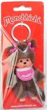 Monchhichi 253410 Key Chain Classic, Schlüsselanhänger, Mädchen mit pinkem Latz