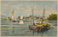 O.STRÜTZEL (*1855), Wallwitzhafen an der Elbe in Dessau, 1878, Kol. Holzstich