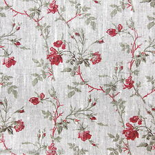 Lino con roselline tessuto d'arredo melange cuscini rivestimento sedie cm 65x150