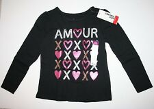 Epic Threads Girls Shirt Black cotton polyester Size: 5 AMOUR LOVE HEART