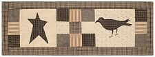 """36"""" L Country Crow Star Quilted Patchwork Table Runner Gray Cream Kettle Grove"""