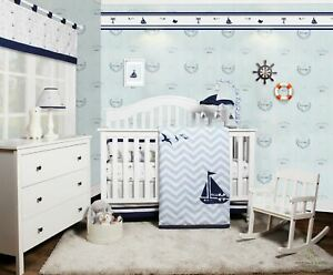 OptimaBaby 7PCS Nautical Explorer Sail Baby Bedding Sets with Musical Mobile