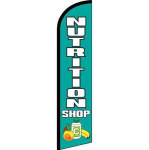 Nutrition Shop Blue / White Windless Banner Advertising Marketing Flag