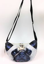 NEW MULTI COLOR SATIN DOG PUG PUPPY FACE ZIP POUCH+BAG+CROSSBODY,SHOULDER BAG