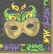 3 Serviettes en papier Mardi Gras Fête Masque Decoupage Paper Napkins Magic