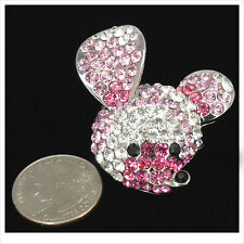Cute Micky Mouse Kitten Brooch Pin Crystal Rhinestone Pink Clear 3D Jewel New 28