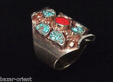 Traditioneller Tibetischer Türkis Ring tibetan turquoise ring neusilber  Nr.29