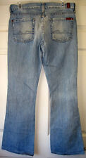 WOMENS 7 FOR ALL MANKIND DOJO LOW-RISE FLARE DISTRESSED BLUE JEANS SIZE 28 L30