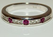 18CT WHITE GOLD  CHANNEL SET 0.2CT RUBY 0.2CT DIAMOND ETERNITY RING WT 4.1g