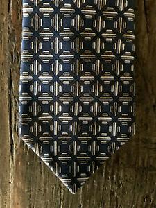 HERMES tie - Authentic vintage classic geometric blue.