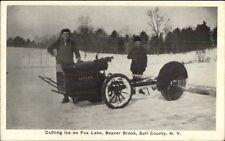 Ice Cutting Machinery Fox Lake Beaver Brook Sull County Ny c1915 Postcard