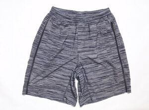 Lululemon men's medium gray black striped print athletic shorts with liner