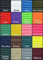Solid 550 Paracord Parachute Cord Type III 7 Strand Core 100' Pick of 20 Colors