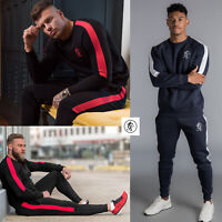 Gym King Mens Fleece Crew Neck Stripe Panel Tracksuit or Joggers Sweatshirt 0008