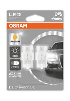 Osram LED Indicator Bulbs 582/382W Amber W21W Wedge W3x16d T20 12V 1W 7706YE-02B