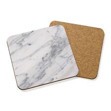 blanco y gris efecto mármol veteado Posavasos Felpudo Corcho Cuadrado Juego x 4