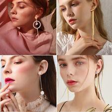Fashion Metal Crystal Pearl Dangle Earrings Jewelry Geometric Big Drop Earrings