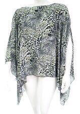 Womens New Grey Snow Animal Print Poncho Kaftan Top Plus Size Ladies *LICK*