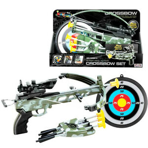 Kid  Children  Action Camouflage Toy Crossbow Set Suction Arrows & Target