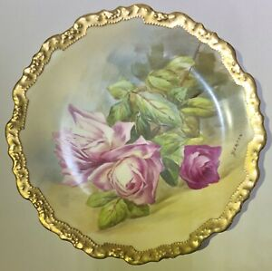 Antique Limoges Hand Painted Rose Plate With Luster Gold Trim