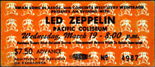1  LED ZEPPELIN VINTAGE UNUSED FULL CONCERT TICKET 1975 Vancouver BC Canada