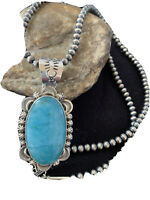 Stunning MENS Gift Navajo Sterling Silver Blue TURQUOISE Necklace Pendant 01313