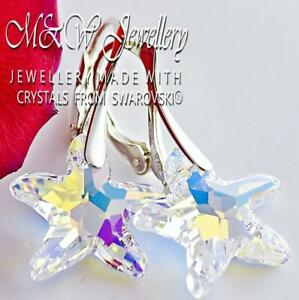 925 Sterling Silver Earrings Crystals from Swarovski® STARFISH 16mm - Crystal AB