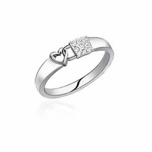 "New White Gold Diamond Set ""Love Locked"" Wedding Commitment Ring Hallmarked"