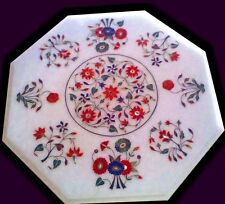 """18"""" Marble Side Table Top Pietra Dura Floral Inlay Handicraft Home Decor"""