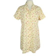 810ba3d7f1 Eddie Bauer Womens Petite L Shirt Dress Fitted Linen Floral Short Sleeve  Yellow