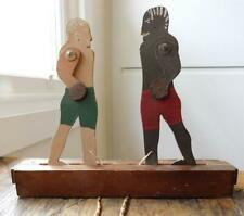 Antique Folk Art Boxing Fighting Men Wooden Pull Toy 1920-30s