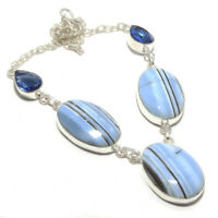 Blue Opal Gemstone Handmade 925 Sterling Silver Jewelry Necklace 18 8235