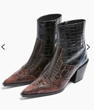 NEW TOPSHOP REAL LEATHER MISSOURI WESTERN BOOTS BURGUNDY UK SIZE 8 EUR 41 RRP£79