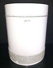 BELLA LUX Waste Basket WHITE CERAMIC Crystal Rhinestones BATHROOM Round NWT