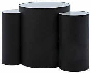"""31"""" W Set of 2 Circles Side Table 3 Solid Stone Tops Matte Black Metal Base"""