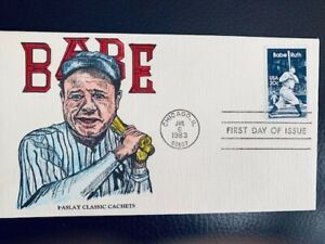 US FDC #2046 Babe Ruth - Baseball Hand Painted B.J. Color Cachet