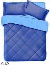 Trapunta Invernale Matrimoniale Clio Piumone Microfibra Blu Azzurro Double Face