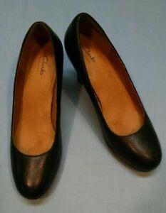 Clarks Womens Artisan Delsie Bliss Dress Pumps Black Leather size US9.5 26101627