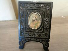 Rare anglo indian hand carved miniature painting in frame