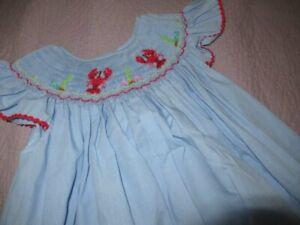 nwot Rosalina blue smocked lobster angel wing bishop dress girls 6  free ship US