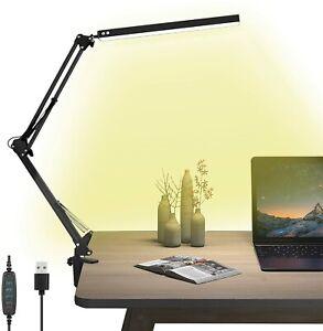 LED Desk Swing Arm Lamp w Clamp 3 Color Modes 10 Adjustable Brightness Levels