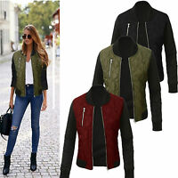 Womens Winter Quilted Retro Padded Bomber Jacket Check Vintage Zip Up Biker Coat