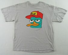 Disneys PHINEAS & FERB Perry The Platypus Character Gray SS T Shirt Size XL