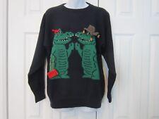 Vintage Higgi Alligator Crocodile Couple Sunset Love Novelty Sweater L