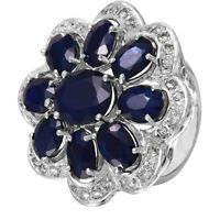 14KT White Gold 16.57ctw Sapphire Diamond Cocktail Ring Size 7 L1529