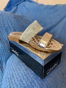 Women's Silver Slider Slip On Diamanté Glitter Sandals