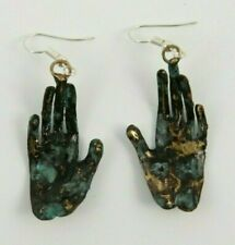 Hand Crafted Earrings Jewelry Mexican Folk Wearable Art Frida Kahlo Hands #3